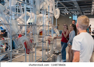 Warsaw Poland. June, 2018. Copernicus Science Museum. Scientific experiments, simulators, entertainment. The best place for family recreation and education of children. STEM.