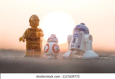 Warsaw, Poland - June 2018 - lego minifigures droids on deset