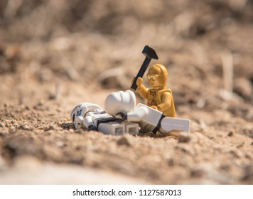 Warsaw, Poland - June 2018 - Lego star wars minifigure protocol droid