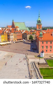 Warsaw, Poland - June 24, 2019: Colorful houses in Castle Square in the Old Town of polish capital aerial view