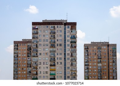 Warsaw, Poland - June 27, 2006: Characteristic residential concrete panel building in Goclaw district of Warsaw, Poland