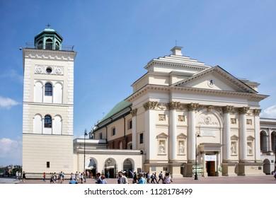 WARSAW, POLAND - June 28, 2018: Old Town Stare Miasto, Castle square St. Anne's Church, Warsaw