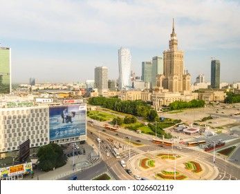 WARSAW, POLAND - JUNE 29, 2013: Aerial view of the Warsaw Palace of Culture and Science. Warsaw postcard with Central part of Warsaw city
