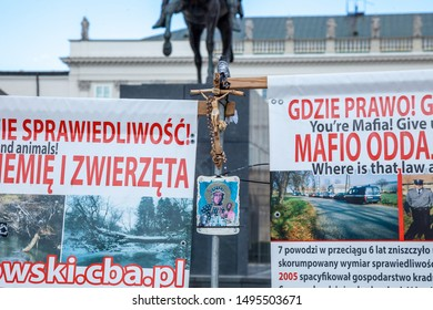 Warsaw, Poland - June 29, 2019: A rally - a protest near the presidential palace in the center of the Polish capital. Slogans and banners to attract government attention to the problems of the populat