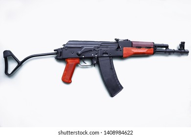 Warsaw, Poland - June 3, 2006: Polish Carbine Model 1988 Tantal assault rifle from lat 1980s during military exhibit in Warsaw