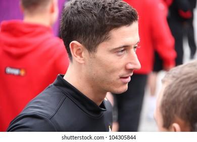 WARSAW, POLAND - JUNE 3: Robert Lewandowski (Borussia Dortmund), Poland national football team striker, after the completion of training, on June 3, 2012 in Warsaw, Poland.