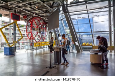 WARSAW, POLAND - JUNE 30, 2018. Copernicus Science Museum with scientific experiments, simulators, entertainment, best attraction for tourists in entire world in Warsaw, Poland.