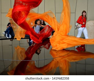 WARSAW, POLAND - JUNE 30, 2018. Copernicus Science Museum with  colorful scientific experiments, simulators, entertainment, best attraction for tourists in entire world in Warsaw, Poland.