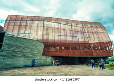 WARSAW, POLAND - JUNE 30, 2018. Planetarium (Heavens Of Copernicus) at the Copernicus Science Centre, equipped with a spherical screen , Warsaw city, Poland.