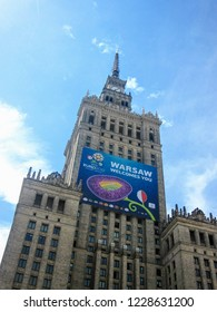 Warsaw, Poland - June 8 2012:  Euro 2012 banner on Palace of Culture and Science. The 2012 UEFA European Championship co-hosted for the first time by Poland and Ukraine