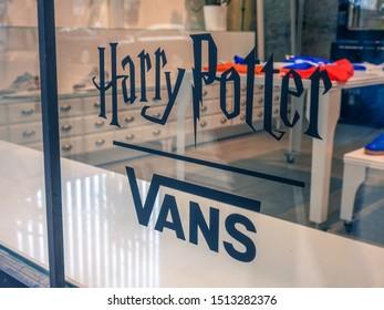Warsaw, Poland - June 8, 2019: Harry Potter vans written on the shopfront glass of a sneaker store