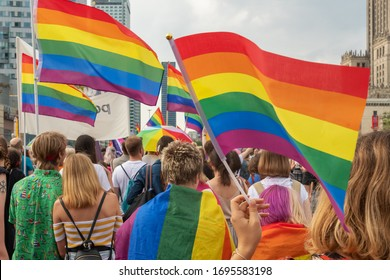 Warsaw, Poland - June 8, 2019: Equality parade on the streets of Warsaw. Gay, lesbians, trans, hetero people in LGBT Pride Parade
