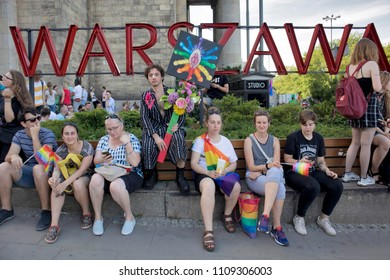 Warsaw, Poland - June 9, 2018: Participants of large Equality Parade - LGBT community pride parade in Warsaw city