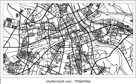 Warsaw Poland Map in Black and White Color. Outline Map.