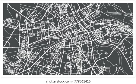 Warsaw Poland Map in Retro Style. Outline Map.