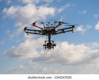 Warsaw, Poland - Mar 19, 2019: Big professional heavy drone DJI M600 pro multirotor hexacopter photography dron