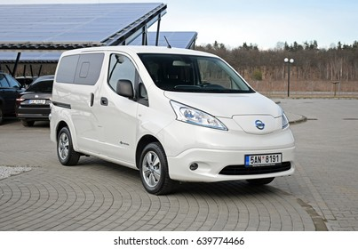 Warsaw, Poland - March, 01, 2017: Electric commercial vehicle Nissan e-NV 200 on parking.