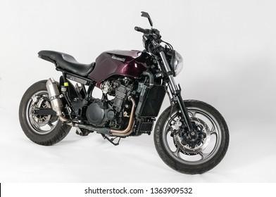 "Warsaw, Poland, March 01, 2019: Warsaw Custom Motorcycles Show.  Presentation of custom designed in motorcycles cathegory ""Street bike""."