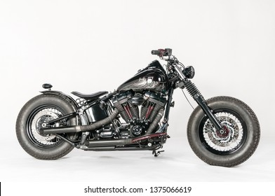 """Warsaw, Poland, March 01, 2019: Warsaw Custom Motorcycles Show.  Presentation of custom designed in motorcycles cathegory """"Modified Harley""""."""