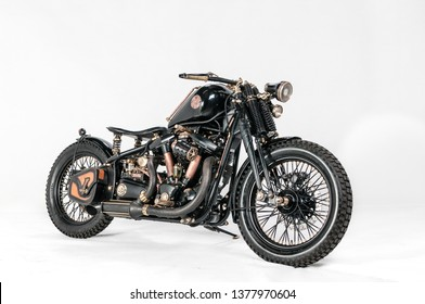 """Warsaw, Poland, March 01, 2019: Warsaw Custom Motorcycles Show.  Presentation of custom designed in motorcycles cathegory """"Old School""""."""