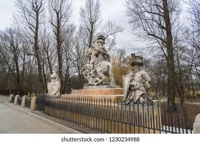 Warsaw, Poland. March 03, 2018. Monument to John III Sobieski at Lazienki Park,