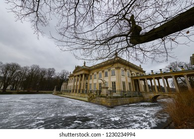 Warsaw, Poland - March 03, 2018: Royal palace (Palace on the Water) in Lazienki park at winter in Warsaw, Poland