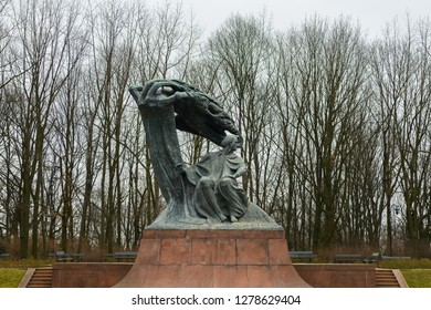 Warsaw, Poland - March 03, 2018: Frederic Chopin monument in Royal Baths Park or Lazienki Park, largest public park in Warsaw, capital of Poland