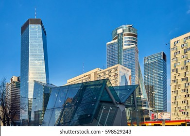 Warsaw, Poland - March 05, 2017: Q22 is a neomodern office skyscraper in Warsaw by the Polish real estate developer Echo Investment and designed by APA Kurylowicz. The building is 195 metres high.