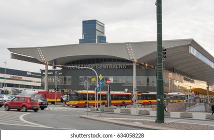 WARSAW, POLAND - MARCH 08, 2015: Warszawa Centralna primary railway station in the city center. Designed by architect Arseniusz Romanowicz, it was built between 1972 and 1975.