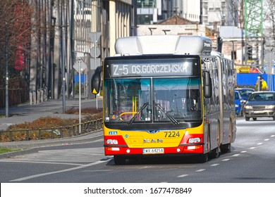 WARSAW, POLAND - MARCH 15, 2020 - MAN CNG bus, operated by MZA Warszawa, in the city centre