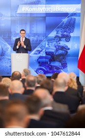 WARSAW, POLAND - MARCH 16, 2018, Polish Prime Minister Mateusz Morawiecki holds meeting with  businessmen.