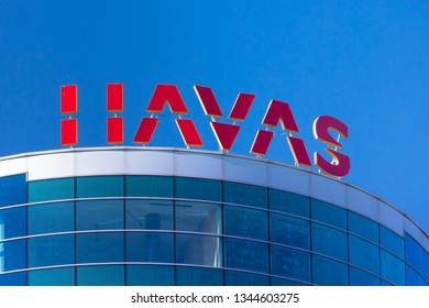 Warsaw, Poland - March 2019: Havas company logo on office building in Warsaw city centre