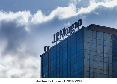 WARSAW, POLAND - MARCH, 2019: J.P. Morgan logotype on the top of office building