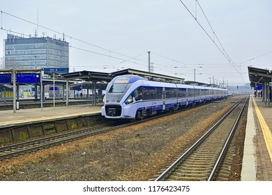 WARSAW, POLAND - MARCH 24, 2018 - Dart ED161 long-distance train, produced by the Polish company Pesa for PKP Intercity, standing at Warszawa Zachodnia railway station