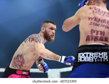 WARSAW,  POLAND MARCH 25, 2017: PLMMA Mixed Martial Arts Fight Night in a cage o/p Fighters in the octagon