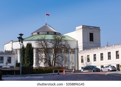 WARSAW, POLAND - MARCH 25, 2018: Exterior view of Polish Parliament in Warsaw. Warsaw is the capital city of Poland.