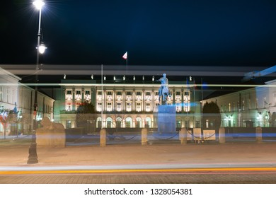 Warsaw, Poland - March 25, 2018: The Presidential Palace in Warsaw at night.