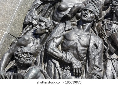 WARSAW, POLAND - MARCH 29, 2014: Ghetto Heroes Memorial commemorates the heroes who fought against the Nazis during the uprising in 1943, unveiled on April 19, 1948, renovated in 2011-2012