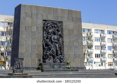 WARSAW, POLAND - MARCH 29, 2014: Ghetto Heroes Monument commemorates the heroes who fought against the Nazis during the uprising in 1943, unveiled on April 19, 1948, renovated in 2011-2012