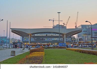 WARSAW, POLAND - MARCH 3, 2018 - Warszawa Centralna (Warsaw Central) main railway station