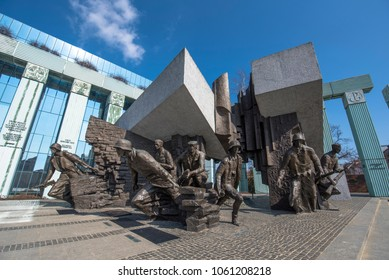 Warsaw, Poland - march 30, 2018: Monument to the Warsaw Rising dedicated to Warsaw Uprising in 1944 against the Nazi occupiers. This striking bronze tableau depicts Armia Krajowa fighters.