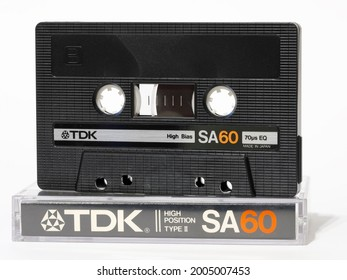Warsaw, Poland - March 30, 2021: Compact cassette, TDK SA60 Type II. This standard of recording and reproducing sound was presented in 1963. It is also used as a data carrier.