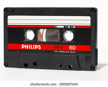Warsaw, Poland - March 30, 2021: Compact cassette, Philips FE Type I 60. This standard of recording and reproducing sound was presented in 1963. It is also used as a data carrier.