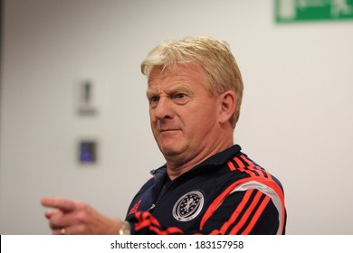 WARSAW, POLAND - MARCH 4: Gordon Strachan, manager of the Scotland national football team attends a press conference before friendly match of Poland vs. Scotland on March 5, 2014 in Warsaw, Poland.
