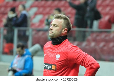 WARSAW, POLAND - MARCH 5: Goalkeeper Artur Boruc before the friendly football match between Poland and Scotland on March 5, 2014 in Warsaw, Poland. Final result: 0:1