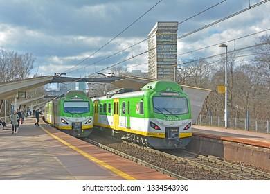 WARSAW, POLAND - MARCH 8, 2019 - Koleje Mazowieckie trains at Warszawa Powisle railway station on the cross-city railway line (linia srednicowa)