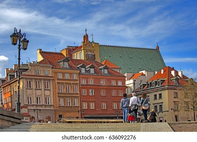 WARSAW, POLAND - MAY 01, 2017. Warsaw city, Poland. Old historic house roofs, church spires