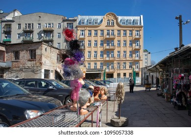 WARSAW, POLAND - MAY 01, 2018 Bazar Rozychkiego is the oldest market in the city and dates back to 1901 in district of Praga