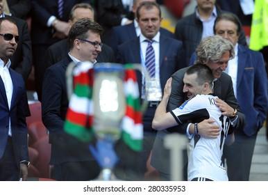 WARSAW, POLAND - MAY 02, 2015: Polish Football League Cup Final Legia Warsaw - Lech Poznan, o/p: Boguslaw Lesniadorski, Dariusz Mioduski owners of Legia, Michal Kucharczyk