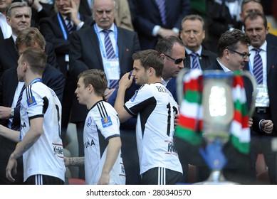 WARSAW, POLAND - MAY 02, 2015: Polish Football League Cup Final Legia Warsaw - Lech Poznan, o/p: Ondrej Duda, Jakub Kosecki, Bartosz Bereszynski, Boguslaw Lesniadorski